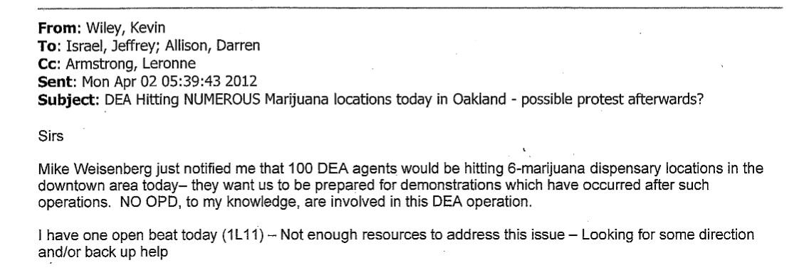 Did a DEA dispensary raid drain Oakland police during a
