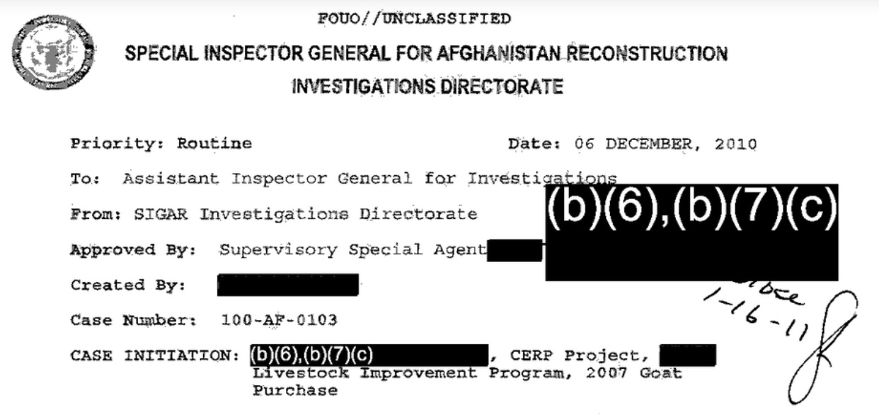 """Inspector found Afghan goat giveaway """"lacked accountability"""" • MuckRock"""