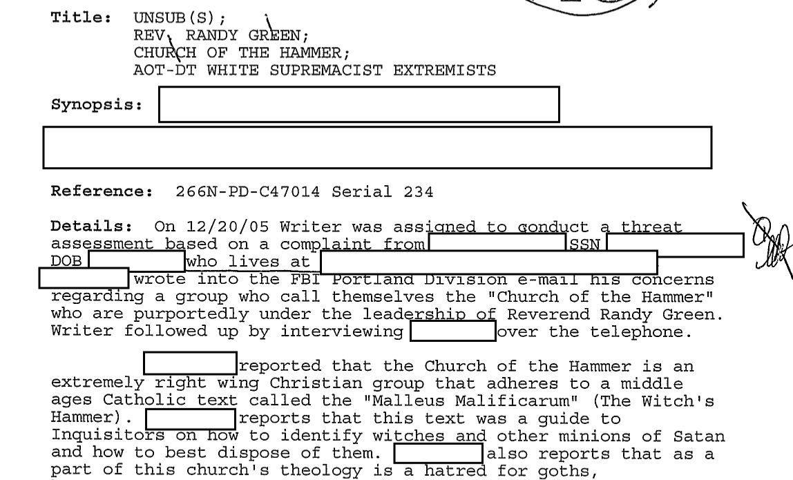 The FBI's years-long investigation into a fictional anti-goth cult