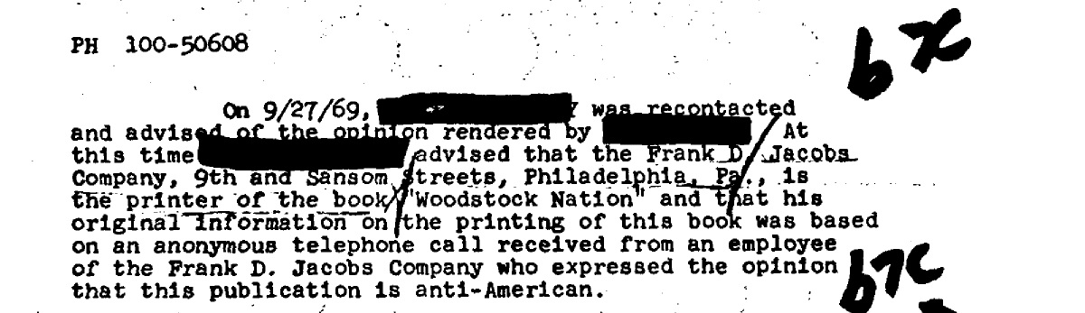 Abbie Hoffman FBI Woodstock