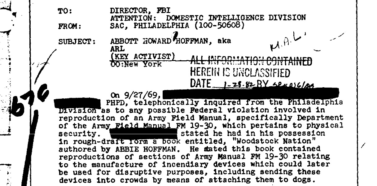 Abbie Hoffman Army Manual Dogs