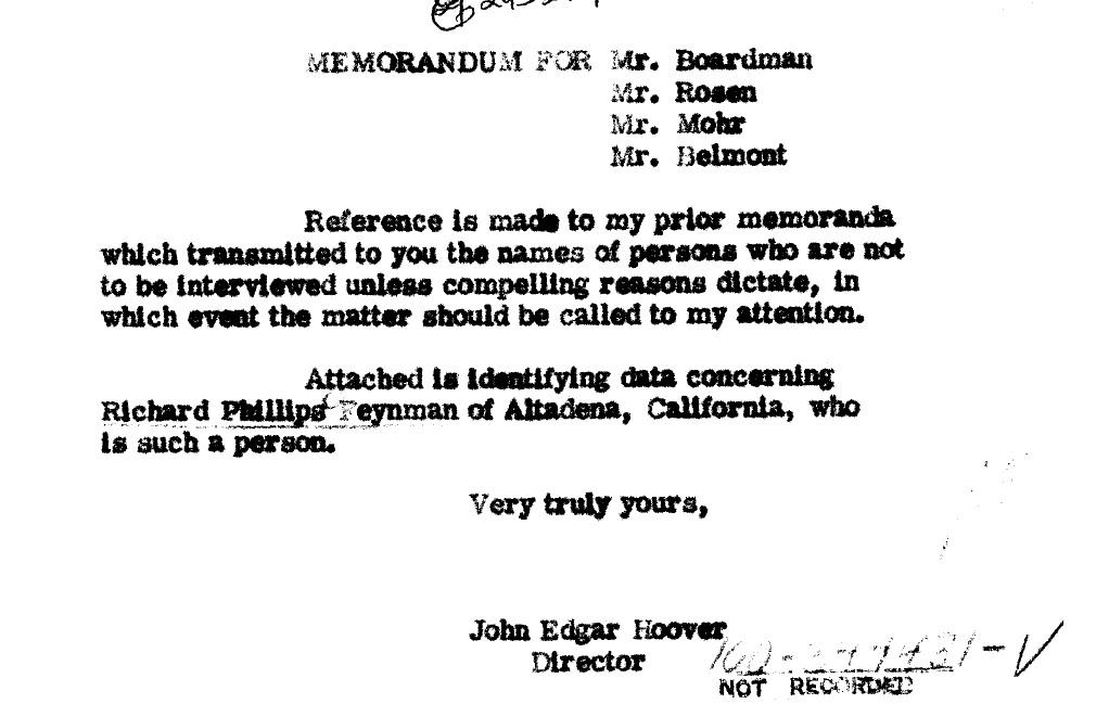 Richard Feynman Hoover Rebuke