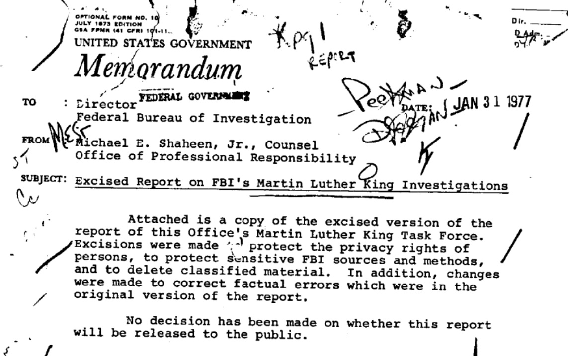 1977 report found the FBI had engaged in gross misconduct while