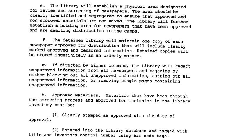 Guantanamo Bay periodical censorship procedures