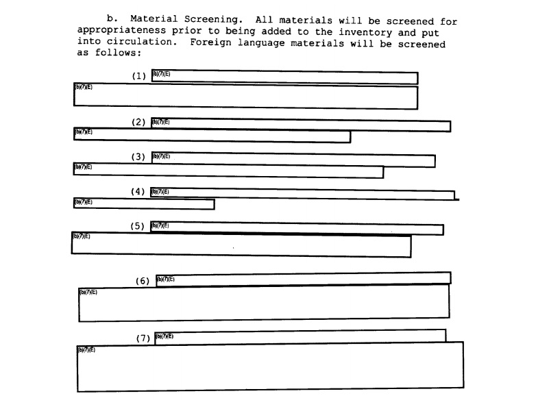 The criteria for censoring library materials was entirely redacted