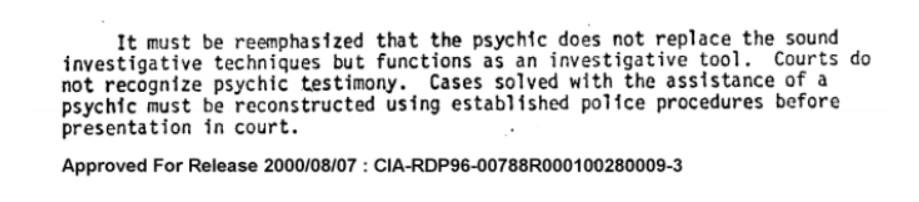 Read the Justice Department's guide to using psychics in police